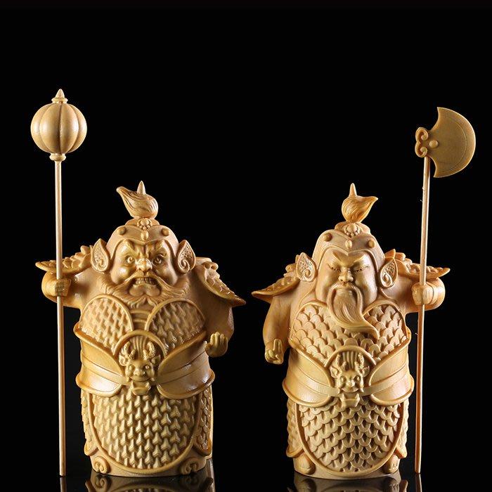 5Cgo【茗道】含稅538553155536 黃楊木雕精品送禮擺件茶寵工藝品家居飾品禮品哼哈二將門神門將古典-小號一對
