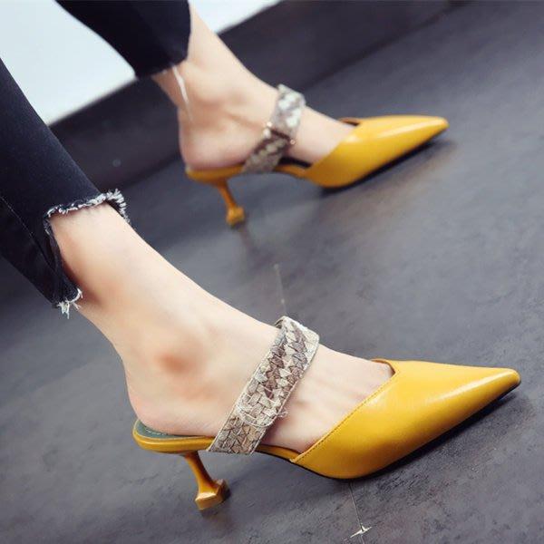 *姑涼家*高跟涼鞋女漆皮蛇皮紋2017夏季新款性感百搭女鞋涼拖鞋潮