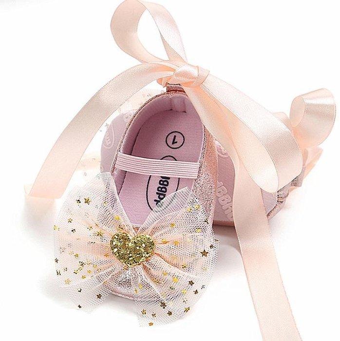 紫滕戀推出寶寶學步鞋嬰兒學步鞋 女寶寶公主鞋百天周歲禮服鞋女童鞋0-2歲  粉色大蝴蝶節