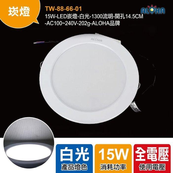 買LED就找阿囉哈【TW-88-66-01】15W-LED崁燈-白光-1300流明-開孔14.5CM/燈泡/崁燈