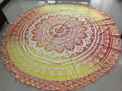 金黃色與紅色 曼陀羅圓形掛毯 地毯 桌布 桌巾 【藥魂】