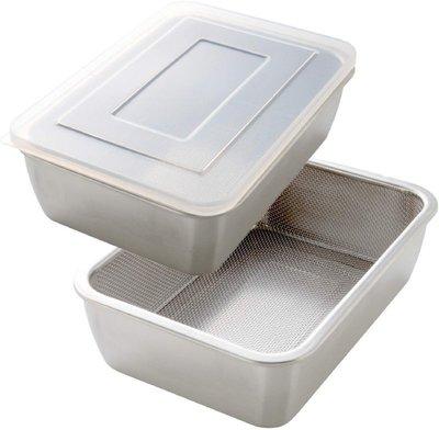 ♥微小市集♥【日本代購】Arnest 不鏽鋼濾網保鮮盒3件組 深型
