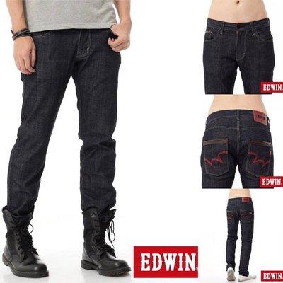 Look 鹿客 EDWIN  EDGE LINE雙口袋中直筒牛仔褲-男-原藍色(丹寧褲)141863-000