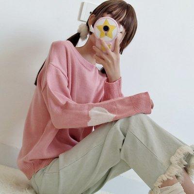 秋装新款韩版宽松圆领套头针织衫学生甜美百搭爱心提花长袖毛衣女
