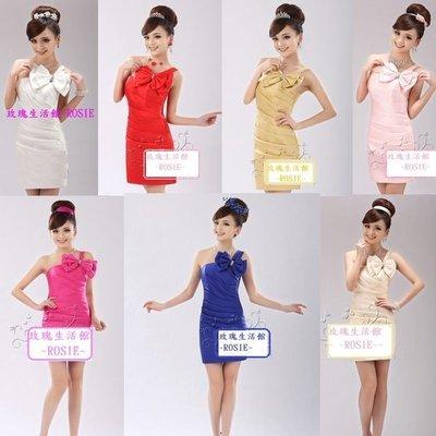 【玫瑰生活館】~單肩蝴蝶結禮服,厚緞,質料超好,雙拉鍊,專櫃款,另有旗袍,西裝,和服,表演服