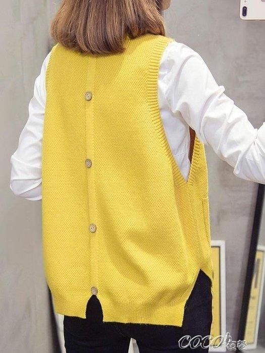 BELOCO 針織衫背心 秋裝毛衣背心女背心針織秋冬新款韓版圓領毛線百搭開叉BE655
