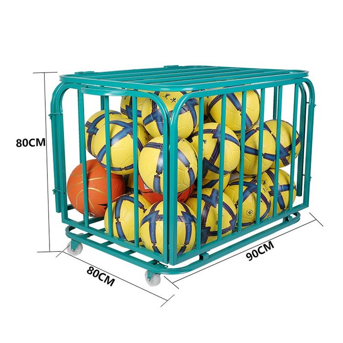 戀物星球 籃球收納車幼兒園裝籃球足球的收納框車折疊球類推車不銹鋼裝球車