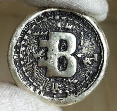 «自由銀»手澆銀塊(銀條/銀幣)-Bitcoin 比特幣銀幣 (1 toz)