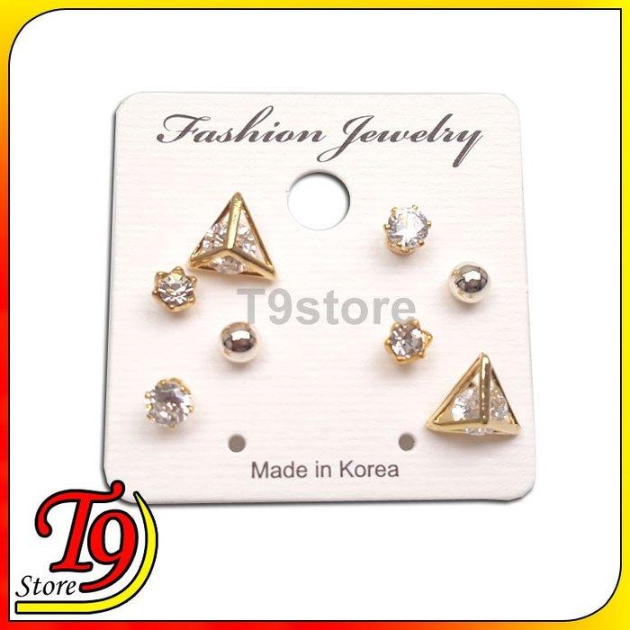 【T9store】韓國製 立體小三角型組合鋼針耳環