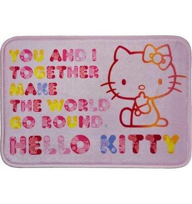 正版三麗鷗Hello Kitty絨毛地墊腳踏墊 花文字 a c t i o n