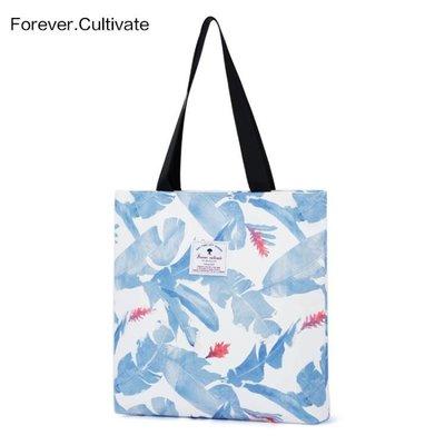 帆布包Forever cultivate印花帆布包 女學生單肩手提袋韓國文藝簡約百搭 至簡元素