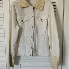 ESCADA 金屬釦米白色針織外套