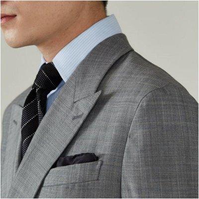 【LANVIN Boutique 】浪凡淺灰格單排兩扣正式西裝上衣