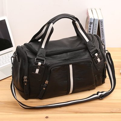 手提包 公事包 旅行包大容量戶外男士旅行手提包時尚皮質潮男健身包斜跨包多口袋旅游包