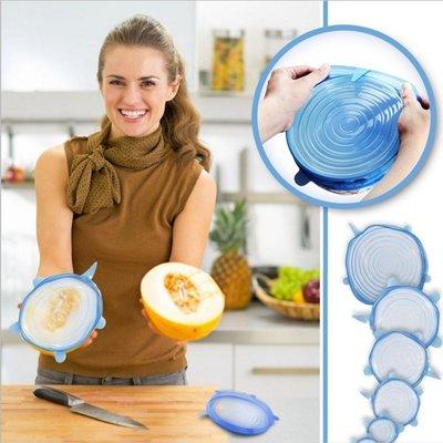 糖衣子輕鬆購~BA0165~微波爐耐高溫萬能保鮮蓋矽膠碗盤冰箱保鮮蓋伸縮膜6入