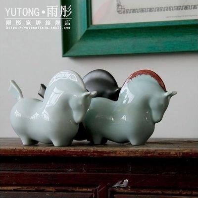客臨門 紅鬃 新中式陶瓷擺件馬 影青創意家居客廳辦公室裝飾品商務禮品ytjj-57