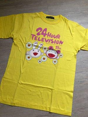 全新真品 日本電視台 24 HOUR TELEVISION love saves the earth 2008村上隆 花朵聯名紀念款 短袖m號