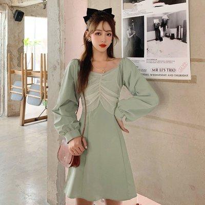 寶島小甜甜~春季設計感小眾方領拼接網紗長袖a字裙氣質收腰顯瘦大碼連身裙女