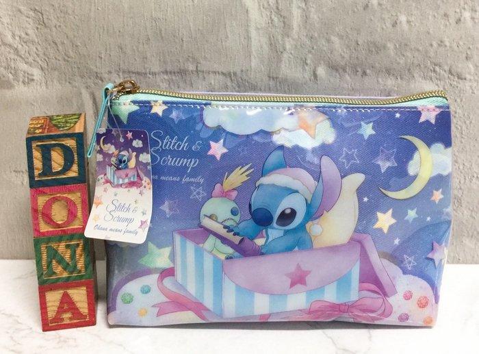 【Dona日貨】日本正版 迪士尼星際寶貝史迪奇醜丫頭 星空睡衣系列 化妝包/收納包/隨身包 B11