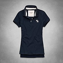 Maple麋鹿小舖 Abercrombie&Fitch * AF 深藍色基本款麋鹿POLO衫*( 現貨M號 )