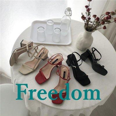 Freedom女鞋小ck涼鞋女仙女風2019新款網紅溫柔晚晚鞋百搭中粗跟超燙高跟鞋