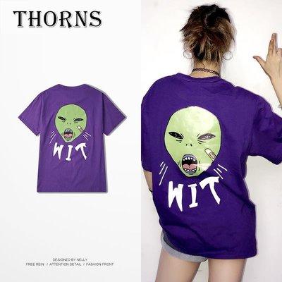 【THORNS】日系原創夏季卡通嘻哈圓領短袖T恤衫青少年潮流個性文字印花上衣