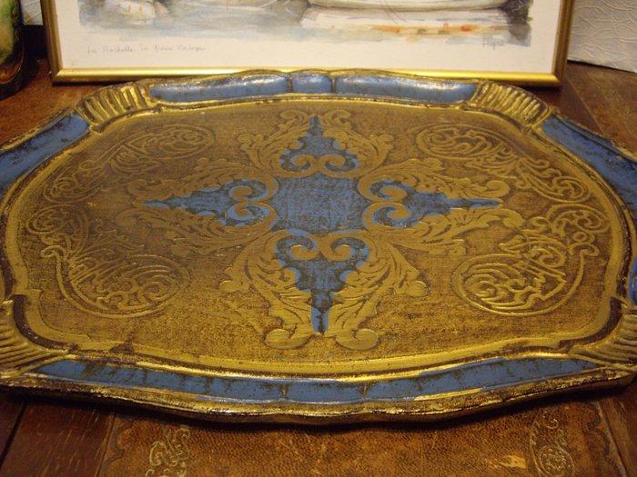 歐洲古物時尚雜貨 義大利 托盤 藍黃 有耳 擺飾品 古董收藏