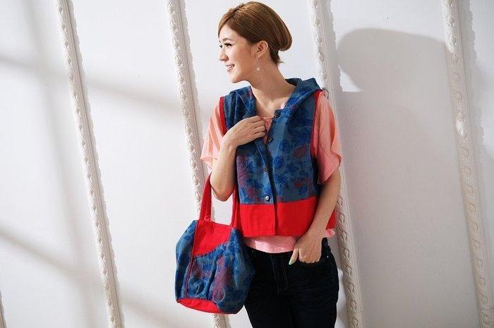 !!(臺灣藍Anewei)單寧帆布雙面用手工製手提包~F~雙面可用 變化萬千