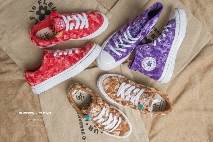 ►Shadow x Clown◄ CONVERSE X GOLF LE FLEUR* ONE STAR 卡其/粉紅/紫色