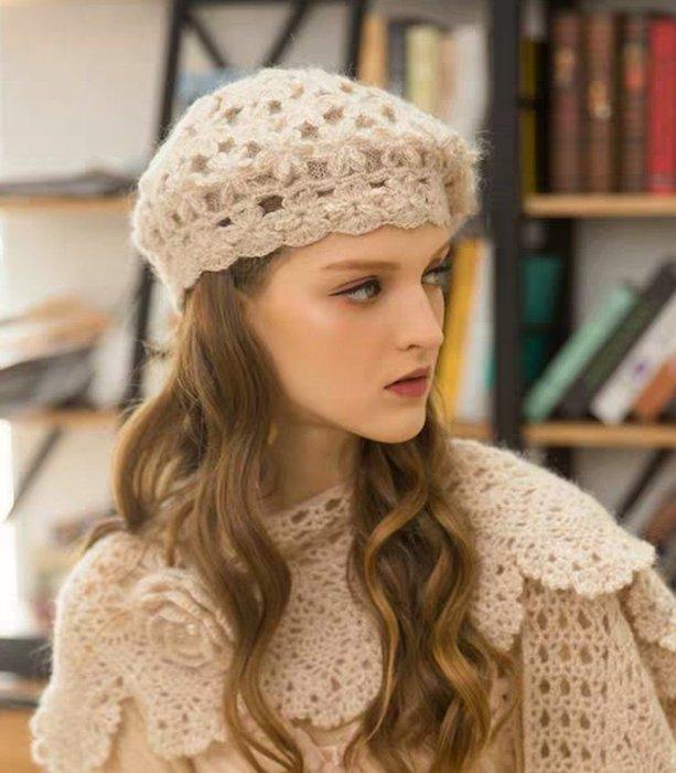 HAT 手工編織雙層花朵鏤空毛線帽 毛帽 貝蕾帽 暖杏色 都會送  現貨