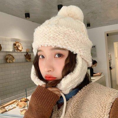 戶外之家黃色針織毛線帽子女秋冬季正韓百搭日系毛球冬天保暖護耳雷鋒帽