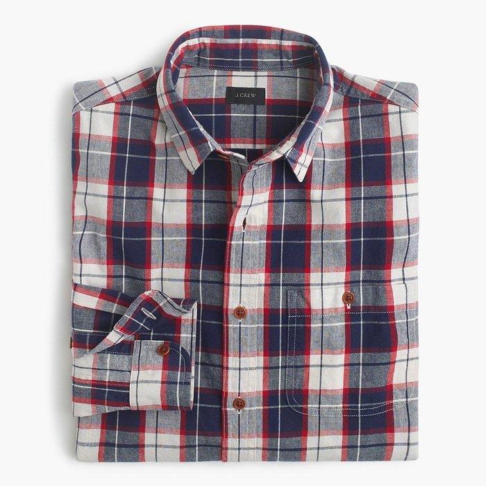 美國百分百【全新真品】J-Crew 襯衫 JC 長袖 上衣 格紋 雅痞 上班 休閒 深藍 白紅 S號 H095
