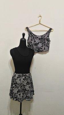 九成新~ 美國製品牌 TAILOR- MADE 花樣 黑色 短袖  兩件式 短洋裝 ~ S ~