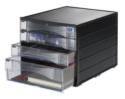 【鑫鑫文具】SDI 手牌 1848N 桌上型A4四層資料櫃(1大3小抽屜)