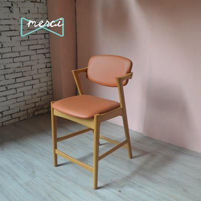 美希嚴選 夏洛特吧椅/吧台椅/坐感佳適合長使用使用/flap-back  /皮革/皇家橘