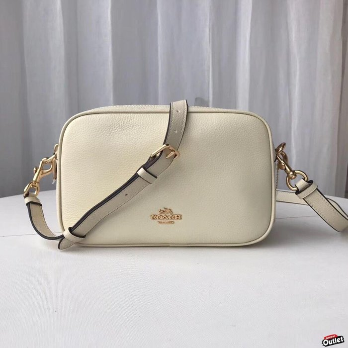 【全球購.COM】COACH 39856 新款女士牛皮雙拉鏈小方包 單肩斜跨包 白色 側背包女包 美國代購
