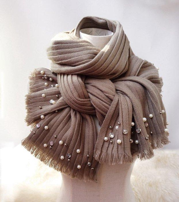 日本秋冬新款 超美圍巾 鑽石 珍珠 鉚釘 百摺披肩 秋冬保暖針織圍巾披肩 超美 超暖 多色