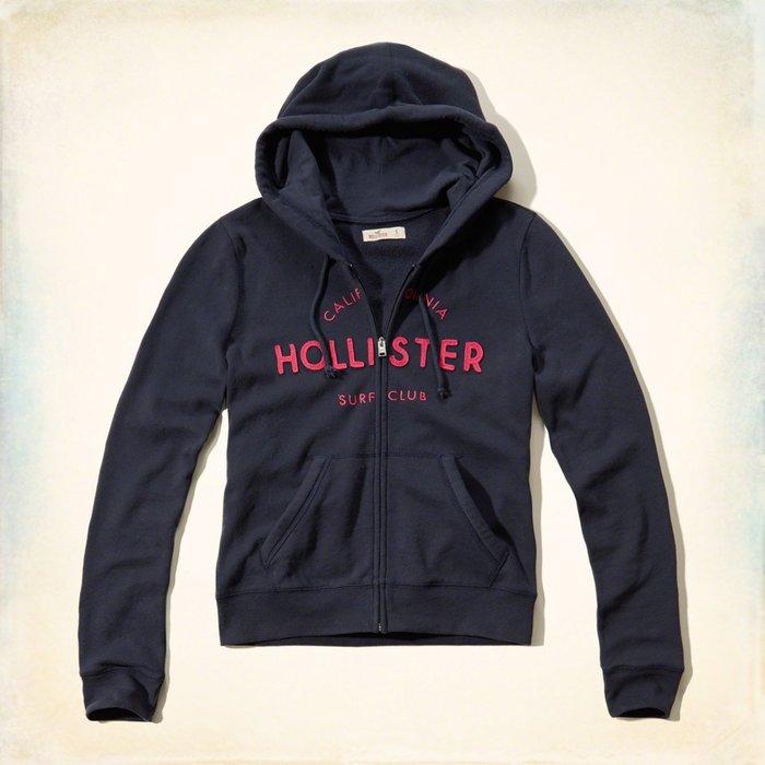 Maple麋鹿小舖 Hollister Co * HCO 深藍色貼布電繡連帽外套 * ( 現貨S/M號 )