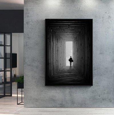 掛畫壁畫藝術有框掛畫【RS Home】50×70cm 抽象藝術無框掛畫相框木質壁畫北歐中式裝飾畫板民宿攞飾油畫掛鐘掛畫