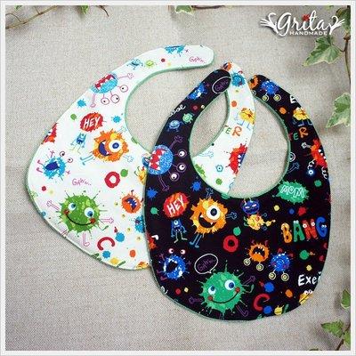 ♥grita's handmade♥純棉手作嬰幼兒圍兜兜/領巾/口水巾/三角巾/彌月禮—彩色小怪獸