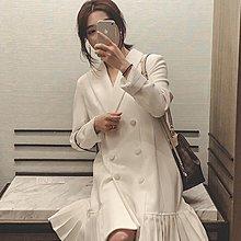Littleluck~女裝2019春裝新款正韓休閒西裝連身裙女裝網紅法國復古裙流行小眾裙子洋裝