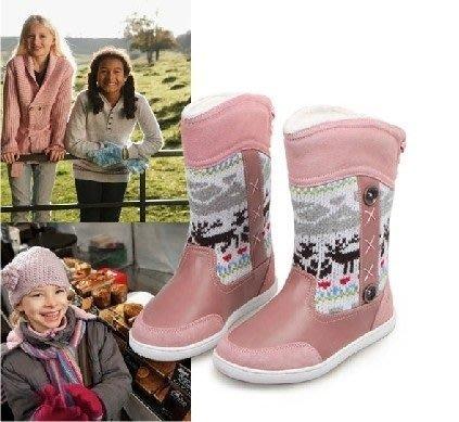 諠諠小舖~韓版冬款時尚中大女童雪地保暖毛絨靴子