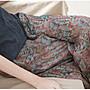 好棒棒衣舍_文藝復古60支精細苧麻輕薄涼意寬鬆印花八分褲_典雅簡約