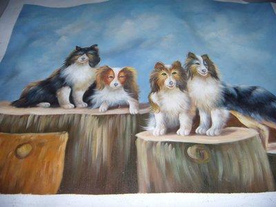 『狗』手工油畫原作無框長寬約58x48公分最迷人的一幅油畫