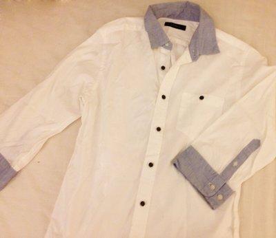 Rageblue 白色藍領子 七分袖襯衫
