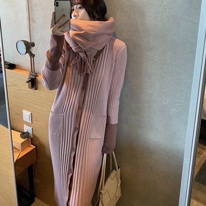*Angel  Dance*長袖洋裝(4色)@韓國 法式風情 復古 V領 配大衣 毛衣 針織 配色 顯瘦@現貨+預購