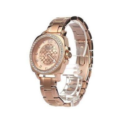 空姐代購 美國正品  COACH 14501701 熱賣新款 女士手錶 精鋼腕帶 石英女錶 商務鋼帶 鑲鑽錶圈 附購證