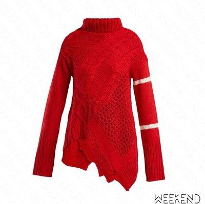 【WEEKEND】 PREEN LINE Serenity 針織 不規則 長袖 上衣 毛衣 紅色 18秋冬