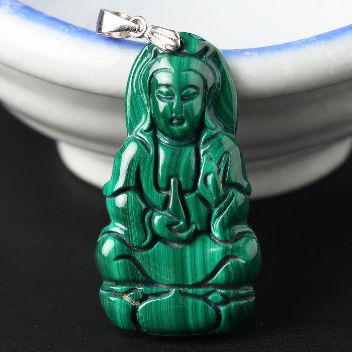 水晶天然高瓷異象孔雀石吊墜女男款 精雕水晶項墜飾品禮物