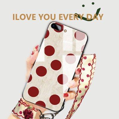 蘋果6手機殼玻璃iphone6splus女款7P波點iphone8套六新款網紅同款潮牌ip全包防摔sp七ins風硅膠個性創意掛繩